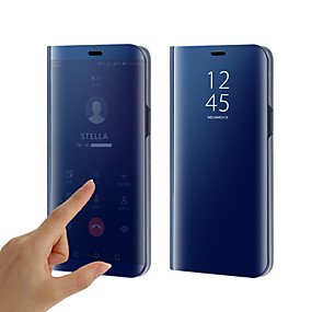 hesapli Cep Telefonu Kılıfları-Pouzdro Uyumluluk Samsung Galaxy S9 / S9 Plus / S8 Plus Kaplama / Ayna / Flip Tam Kaplama Kılıf Solid Sert Silikon