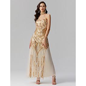 2e762be23c7 Ίσια Γραμμή Καρδιά Μακρύ Πολυεστέρας / Με πούλιες Φανταχτερό Επίσημο  Βραδινό Φόρεμα με Πούλιες / Που καλύπτει / Πλισέ με TS Couture®