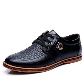 baratos Oxfords Masculinos-Homens Sapatos Confortáveis Couro Envernizado Verão Oxfords Preto / Marron / Festas & Noite / Festas & Noite