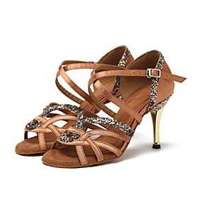 a0d58f006f4ab نسائي أحذية رقص ستان سينكرز ترتر كعب كوبي أحذية الرقص أسود   بني داكن