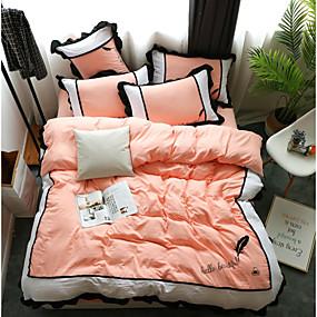 billige Solide dynetrekk-dyne deksel sett solid farget / moderne polyster trykt 4 stk sengetøy sett / 300 / 4pcs (1 dyne deksel, 1 flat ark, 2 shams) konge