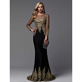 18828a5cd8 Trompeta   Sirena Escote de ilusión Larga Licra   Jersey Evento Formal  Vestido con Cuentas   Apliques por TS Couture®