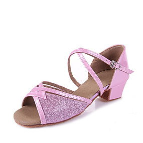e2e0270fc34 Κοριτσίστικα Παπούτσια χορού λάτιν Φο Δέρμα Πέδιλα Πούλιες Πυκνό τακούνι  Εξατομικευμένο Παπούτσια Χορού Ασημί / Μπλε / Ροζ