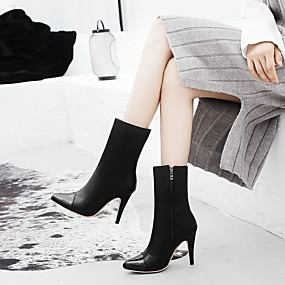 billige Mote Boots-Dame Støvler Party Heels Stiletthæl Spisstå PU Støvletter Trendy støvler Høst vinter Hvit / Svart / Fest / aften