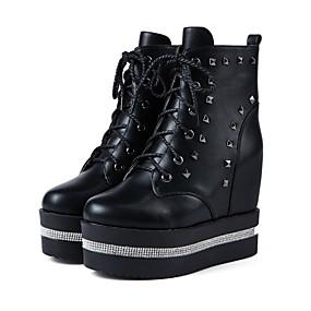 Χαμηλού Κόστους Γυναικεία Αθλητικά-Γυναικεία Αθλητικά Παπούτσια Τακούνι Σφήνα Στρογγυλή Μύτη Τεχνητό διαμάντι / Καρφιά / Αστραφτερό Γκλίτερ PU Μποτίνια Μοντέρνες μπότες / Μποτίνι Φθινόπωρο & Χειμώνας Λευκό / Μαύρο