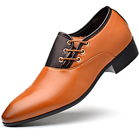 Недорогие Обувь больших размеров-Муж. Официальная обувь Полиуретан Весна Туфли на шнуровке Черный / Желтый / Коричневый / EU42