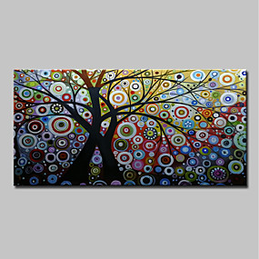 رخيصةأون Others-هانغ رسمت النفط الطلاء رسمت باليد - تجريدي الأزهار / النباتية كلاسيكي الحديث بدون إطار داخلي / توالت قماش