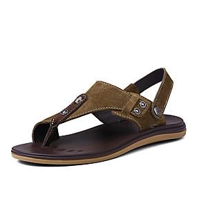 voordelige Wijdere maten schoenen-Heren Comfort schoenen Leer Zomer Sandalen Bruin / Khaki / ulko-
