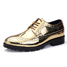 baratos Oxfords Masculinos-Homens Sapatos formais Couro Ecológico Outono Oxfords Dourado / Prata / Festas & Noite