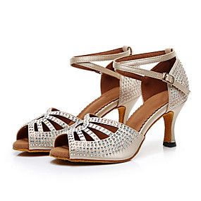 ea919b7d25c Women s Latin Shoes Faux Leather   PU(Polyurethane) Sandal Sparkling Glitter    Crystals   Sided Hollow Out Thick Heel Customizable Dance Shoes Beige    Gray ...