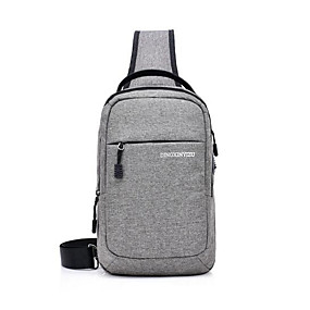 Недорогие Обувь и сумки-Муж. Молнии Слинг сумки на ремне Нейлон Черный / Темно-серый