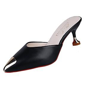 08464e0876 Women's Clogs & Mules Slingback Kitten Heel Pointed Toe PU(Polyurethane)  Fall Black / Beige / Brown