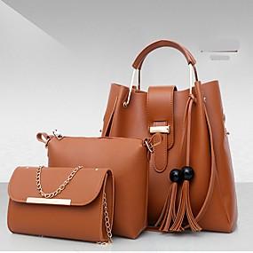Női Táskák PU táska szettek 3 db erszényes készlet Tömör szín Rubin    Arcpír rózsaszín   Khakizöld bffedf6920