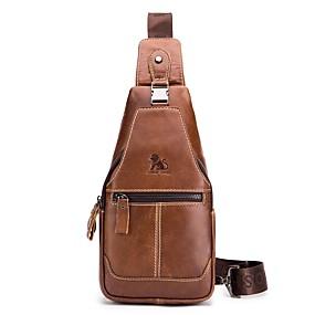abordables Chaussures & Sacs-LAOSHIZI® Homme Boutons / Relief Sacs à bandoulière Cuir de Vachette Couleur unie Noir / Marron