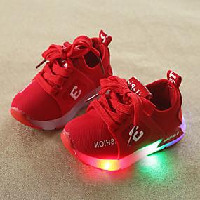 de7e63ff62ee Drenge   Pige Sko Net Forår   Vinter Komfort   Lysende Sko Sneakers Snøring    LED for Børn   Baby Grå   Rød   Lys pink