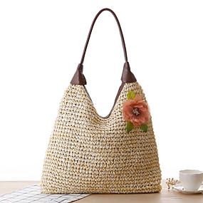 ราคาถูก รองเท้าและกระเป๋า-สำหรับผู้หญิง เข็มกลัด / ซิป กรเป๋าหิ้ว กระเป๋าสาน Straw ขาว / ผ้าขนสัตว์สีธรรมชาติ / สีน้ำตาล
