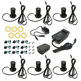 billige LED-kabinetlamper-zdm 6st 1,5w silicagel lille spotlight suit med 12v2a ppower distributionskasse roterende dimming switch installation tilbehør