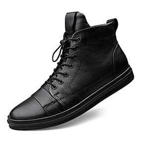 baratos Tênis Masculino-Homens Sapatos de couro Algodão / Pele Primavera Verão / Outono & inverno Tênis Preto