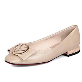 e8be9e9a40913 نسائي أحذية الراحة Leather نابا الربيع اخفاف كعب مسطخ حذاء يغطي أصبع القدم  أسود   البيج   أصفر