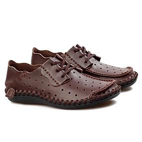 baratos Oxfords Masculinos-Homens Sapatos de couro Couro Primavera Verão Casual Oxfords Respirável Cinzento Escuro / Castanho Claro / Castanho Escuro
