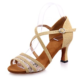 6b67cf3bb95c Γυναικεία Παπούτσια χορού λάτιν Συνθετικά Πέδιλα Πούλιες / Αγκράφα Τακούνι  καμπάνα Παπούτσια Χορού Μαύρο / Καφέ / Κόκκινο