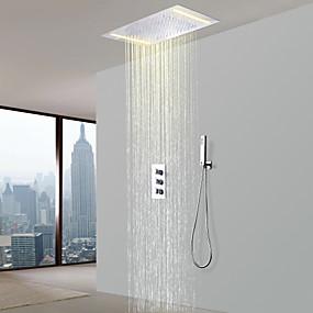 cheap Faucets-Shower Faucet - Contemporary Chrome Shower System Ceramic Valve Bath Shower Mixer Taps / Brass / Three Handles Three Holes