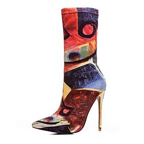 abordables Bottes Tendance-Femme Fashion Boots Tissu élastique Automne hiver Rétro Bottes Talon Aiguille Bout pointu Orange / Mariage / Soirée & Evénement