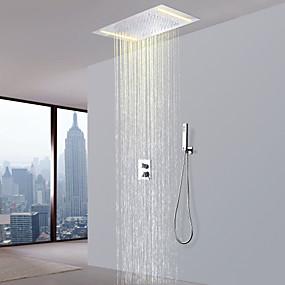 hesapli İndirim Musluklar-Duş Musluğu - Çağdaş Krom Duş Sistemi Seramik Vana Bath Shower Mixer Taps / Pirinç / İki Kolları Üç Delik