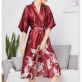 رخيصةأون ثوب-منخفضة V رقبة ثوب منامة نسائي هندسي
