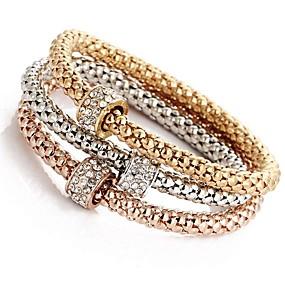cheap Summer 2019 Trends for Her-3pcs Women's Layered Pendant Bracelet Bracelet Set Rhinestone Ladies Sweet Bracelet Jewelry Rose Gold For Ceremony Evening Party