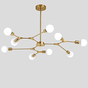 cheap Chandeliers-Electroplated Northern Europe Chandelier 9-Head Modern Metal Molecules Pendant Lights Living Room Dining Room Bedroom
