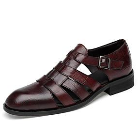baratos Sandálias Masculinas-Homens Sapatos de couro Pele Napa Verão Clássico / Vintage Sandálias Respirável Preto / Marron
