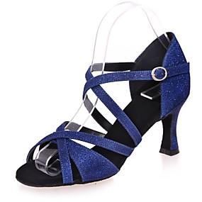 e52d15daab90 Γυναικεία Παπούτσια χορού λάτιν Συνθετικά Πέδιλα Αγκράφα Τακούνι καμπάνα  Παπούτσια Χορού Καφέ / Κόκκινο / Μπλε