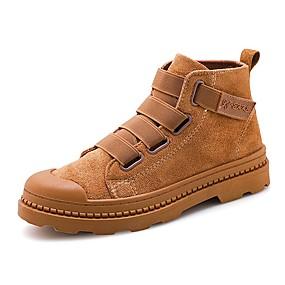 baratos Botas Masculinas-Homens Sapatos Confortáveis Lona Primavera / Outono & inverno Casual Botas Respirável Botas Cano Médio Preto / Marron / Vermelho