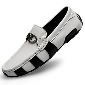 baratos Sapatilhas e Mocassins Masculinos-Homens Sapatos de couro Pele Napa Outono Negócio / Casual Mocassins e Slip-Ons Massgem Branco / Preto