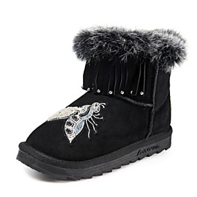 8e342632007 Boys    Girls  Shoes Rabbit Fur   Cowhide Winter Snow Boots Boots Satin  Flower for Kids Black   Pink   Booties   Ankle Boots