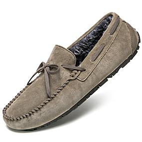 baratos Sapatos Náuticos Masculinos-Homens Sapatos de couro Pele Inverno Casual / Formais Sapatos de Barco Manter Quente Preto / Vinho / Khaki
