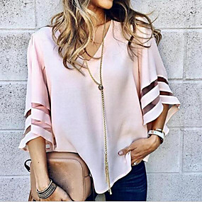 cheap France Promotion 2019-Women's Blouse - Solid Colored V Neck / Flare Sleeve