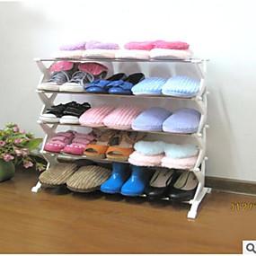 baratos Sapateiras & Cabides de Sapato-Sapateiras & Cabides Plástico / Ferro 5 níveis Unisexo Branco
