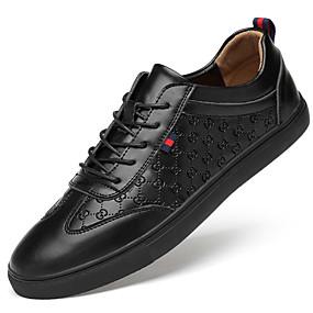baratos Tênis Masculino-Homens Sapatos Confortáveis Pele Primavera & Outono Esportivo / Colegial Tênis Massgem Preto / Branco