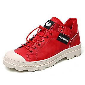 cheap Men's Sneakers-Men's Comfort Shoes PU(Polyurethane) Spring &  Fall Sporty / Casual Sneakers Wear Proof White / Black / Red
