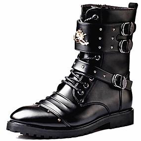 halpa Miesten saappaat-Miesten Fashion Boots Synteettinen Syystalvi Vapaa-aika / Englantilainen Bootsit Pidä lämpimänä Säärisaappaat Musta / Juhlat