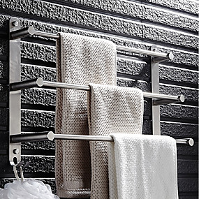 cheap Home and Garden Super Sale-Towel Bar Multilayer Modern Stainless steel 1pc - Bathroom / Hotel bath 3-towel bar Wall Mounted