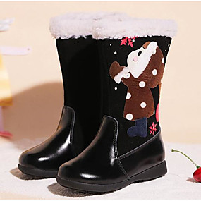 2fffd3fea37 Girls  Shoes Cowhide Winter Snow Boots Boots Satin Flower   Zipper for Kids  Black   Coffee   Red   Mid-Calf Boots