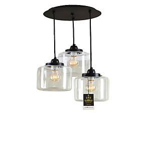 billige Hengelamper-Lightinthebox 3-Light Cluster Anheng Lys Nedlys galvanisert Metall Glass Mini Stil 110-120V / 220-240V Pære Inkludert / E26 / E27