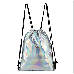 cheap Intermediate School Bags-Women's Bags PU(Polyurethane) Backpack Zipper Silver