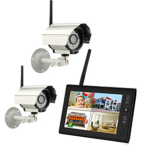 "cheap Security Systems-Wireless 4CH Quad DVR 2 Cameras with 7"" TFT-LCD Monitor Home Security System PAL NTSC Built in Mic"