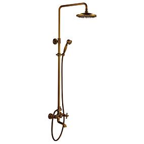abordables Robinets-Robinet de douche - Antique Laiton Antique Système de douche Soupape céramique Bath Shower Mixer Taps / Douche pluie / Douchette inclue / # / Deux poignées trois trous