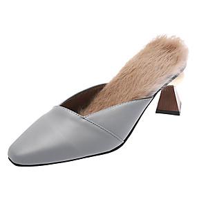ecc29ba58 Women s PU(Polyurethane) Spring   Fall Minimalism Slippers   Flip-Flops  Cone Heel Pointed Toe Black   Gray   Red