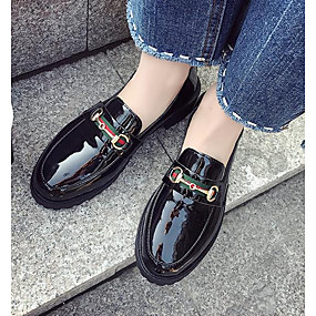 voordelige Damesschoenen met platte hak-Dames Platte schoenen Platte hak Ronde Teen Gesp PU Zoet / minimalisme Lente Zwart / Wijn
